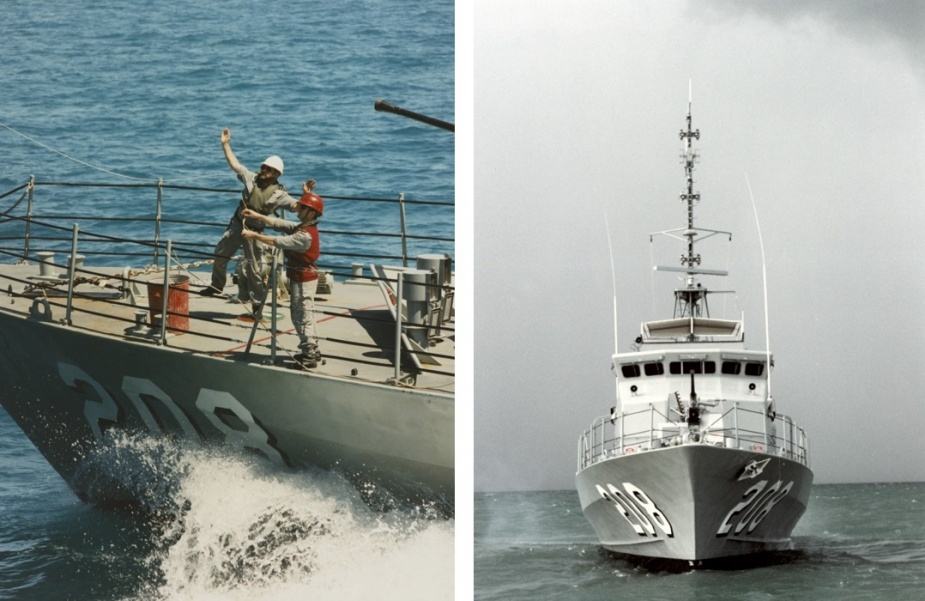 Left: Light line transfers at sea and close quarters manoeuvring were a routine evolution for patrol boat crews. Right: The Fremantle class patrol boats played an important role in fullfilling the RAN's boarder protection responsibilities.
