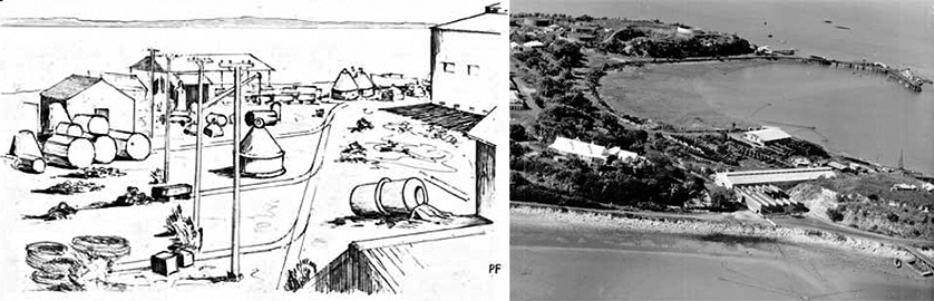 Left: Within the Boom Yard, 1942. Sketch from 'The Navy in Darwin 1942-1943'. Courtesy of MAGNT.  Right: Within the Boom Yard, 1950. Photo: Peter and Sheila Forrest