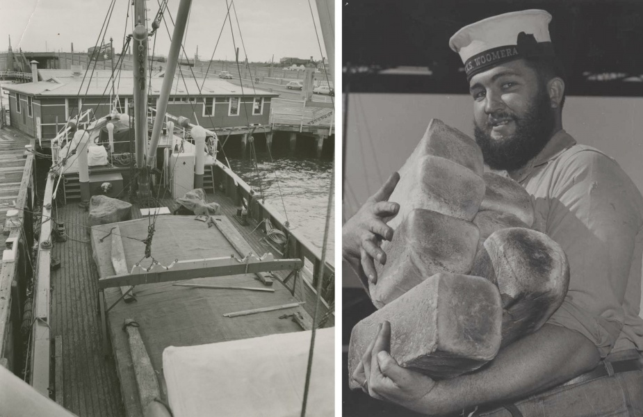 Left: Looking down on Woomera's main deck at her hold which would be filled with obsolete ordnance for dumping at sea. Right: Stoker Ray Macklin embarks fresh bread for the ships galley.