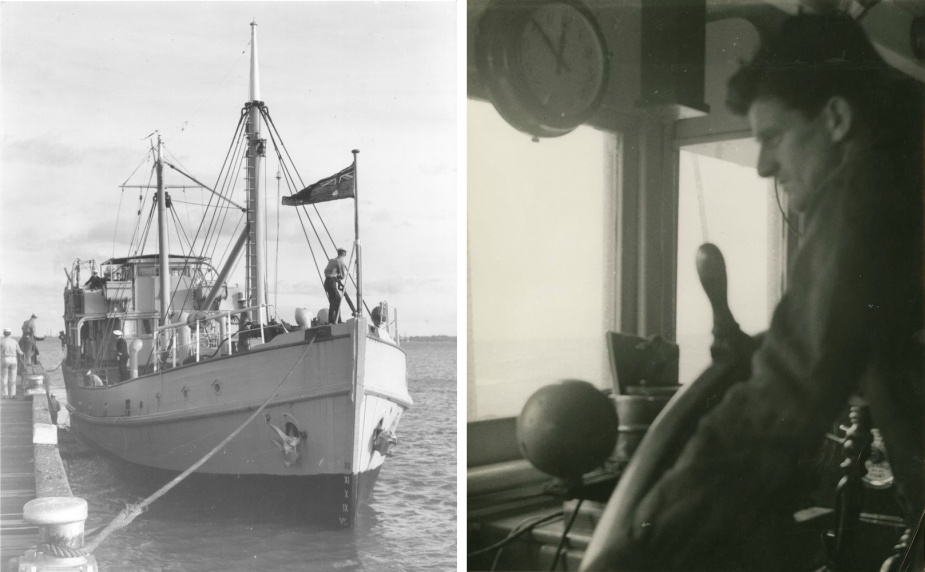 Left: HMAS Woomera at Port Melbourne, June 1954. Right: Able Seaman 'Slim' Jim Ryan at the helm, c. 1957/1958