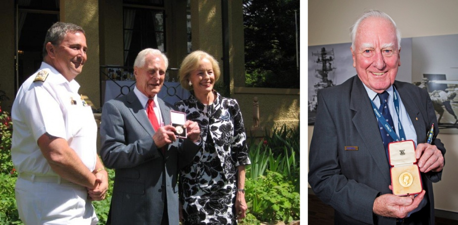 Left: Vice Admiral RH Crane, AO, CSM, RAN, the then Chief of Navy, looks on following the presentation of a replacement King's Gold Medal to the 1937 receipient, Captain Graham Wright, RAN (Retd) by the former Governor-General of Australia, Dame Quentin Bryce, AD, CVO in December 2008.  Right: Commodore TA Dadswell, AM, RAN (Retd) with the King's Medal he was awarded in 1949.