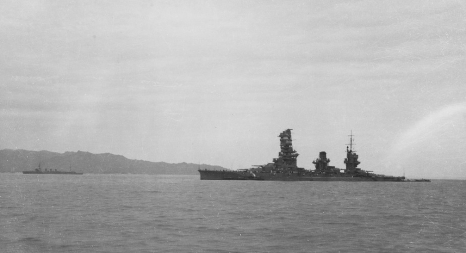 The Yamashiro photographed circa 1940 in Chinese waters. Note the distinctive forward superstructure and her 12 x 14-inch guns mounted in six separate turrets. (US Naval Heritage Command NH 90769)