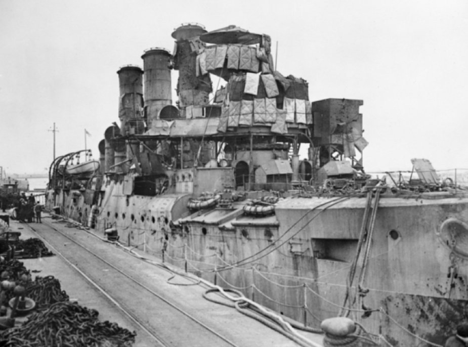 Vindictive at Zeebrugge the morning after the raid