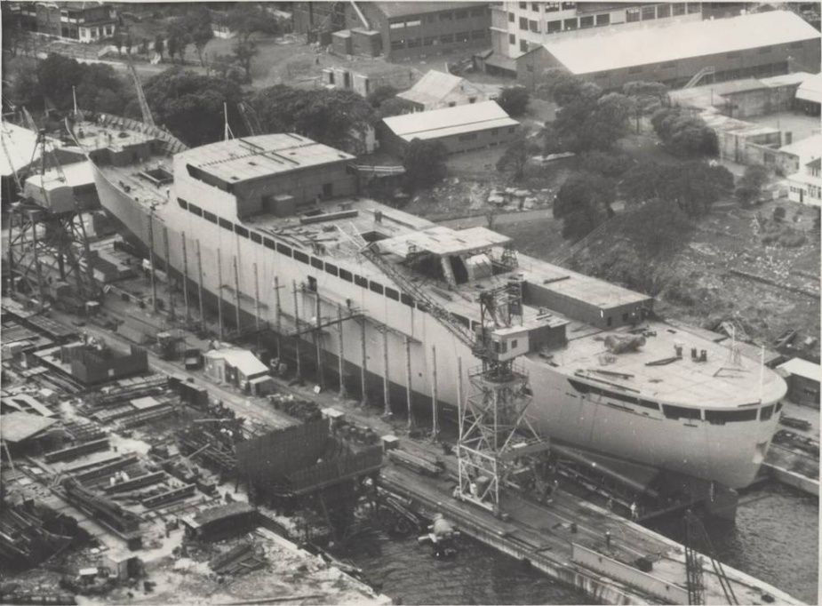 HMAS Stalwart under construction at Cockatoo Island Dockyard, Sydney