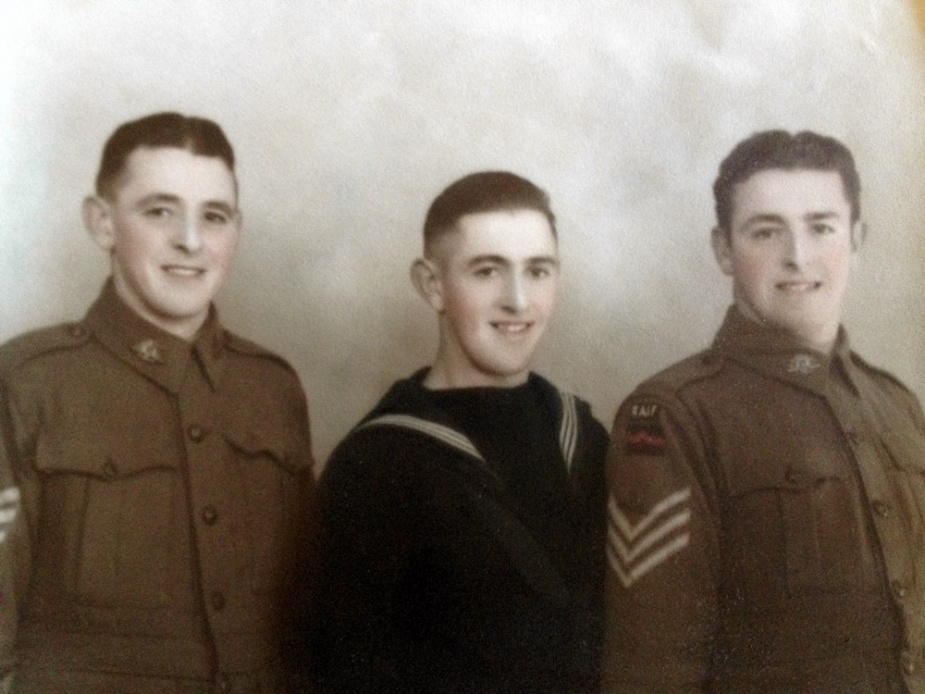 Ordinary Seaman Albert Benjamin Turner pictured with his brothers Les (left) and Arthur (right) (photo courtesy of Mick Turner).
