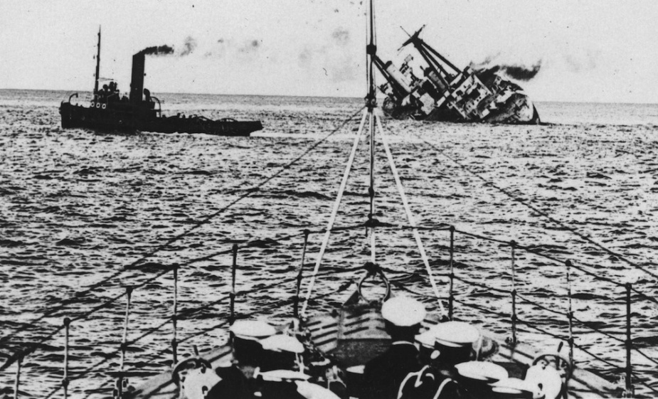HMAS Australia being scuttled off the coast of Sydney on 12 April 1924