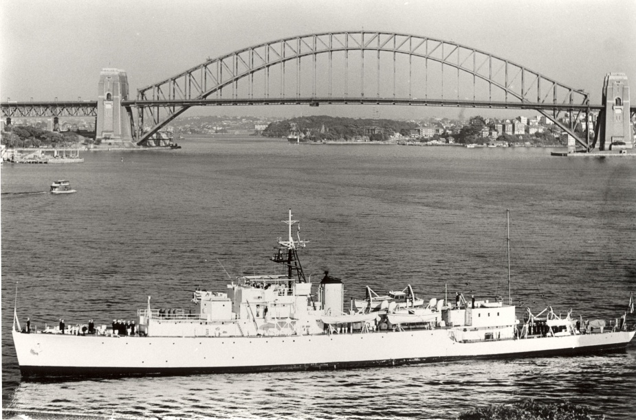 HMAS Barcoo painted in the traditional white paint scheme for survey and hydrographic duties.