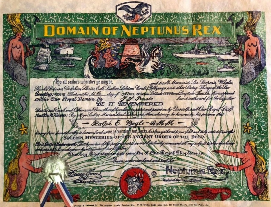 Crossing the line ceremonies are a cherished tradition practised by many Navies worldwide. This certificate was issued by the US Navy in 1948.