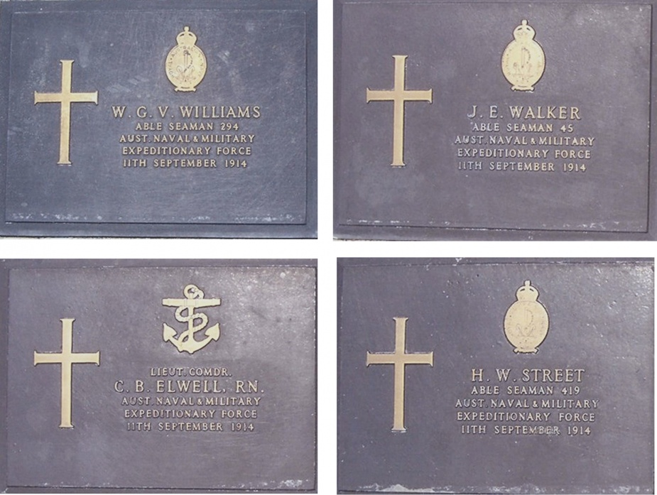 The markers of four of those who fell located at the Bitapaka Commonwealth War Cemetery
