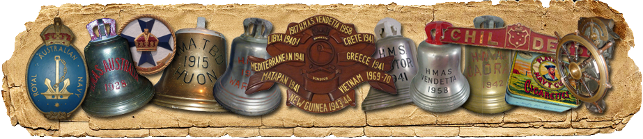 Navy history banner depicting a number of ship's bells and other Navy artefacts.