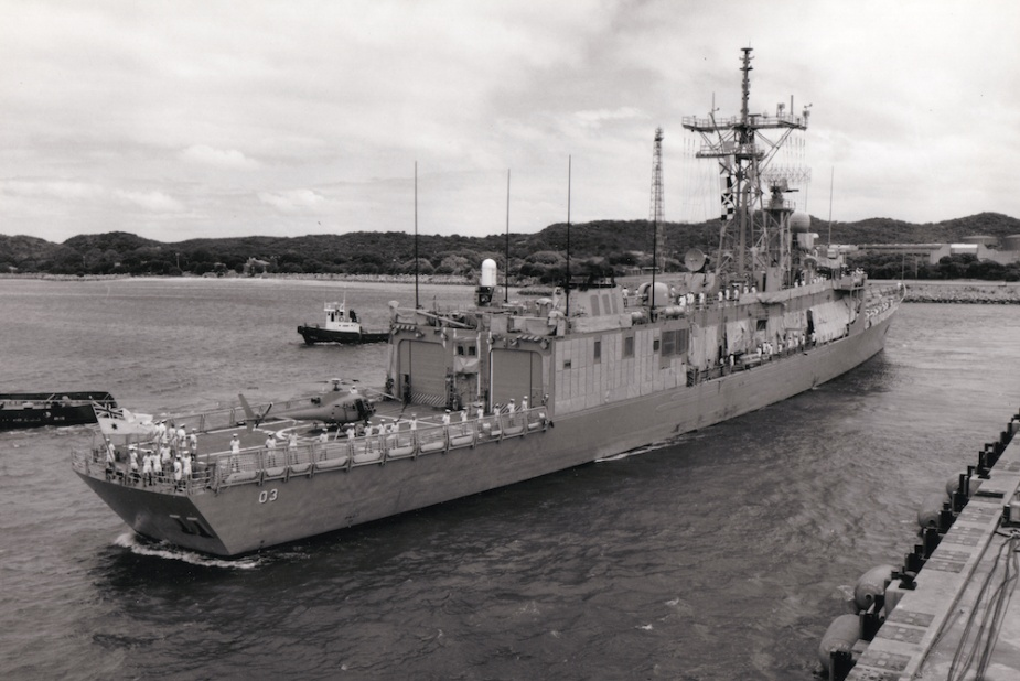 Sydney arrives alongside HMAS Stirling on her return to Australia.