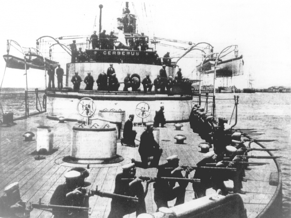 Cerberus ratings undertaking musket drill on Port Phillip Bay.