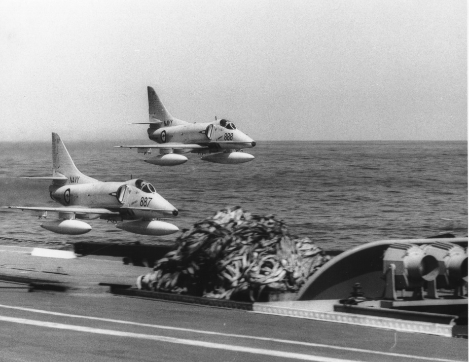 Skyhawks conduct a low flypast 2 September 1971.