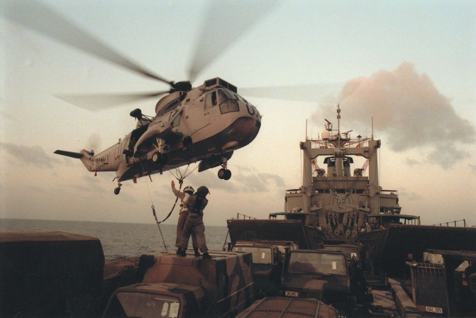 Tobruk's Sea King conducting unloading operations during Operation WARDEN/STABILISE