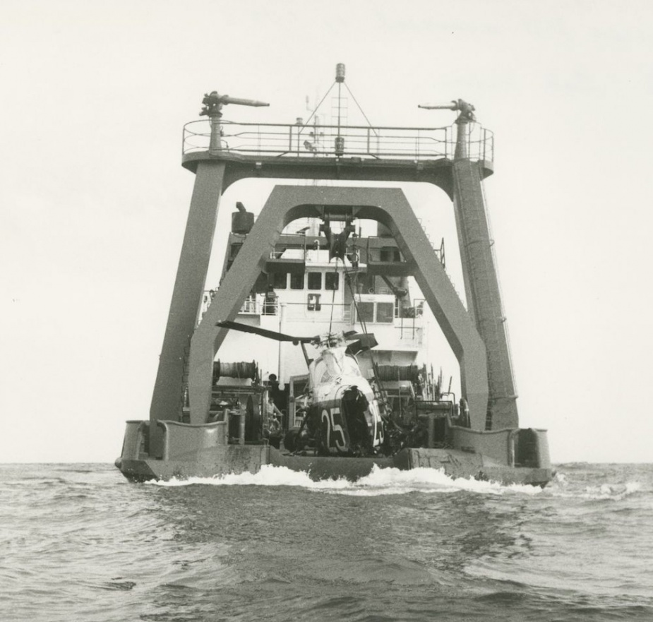 The wreckage of the RAN Wessex recovered from Bass Strait after the accident that claimed two lives in 1983.