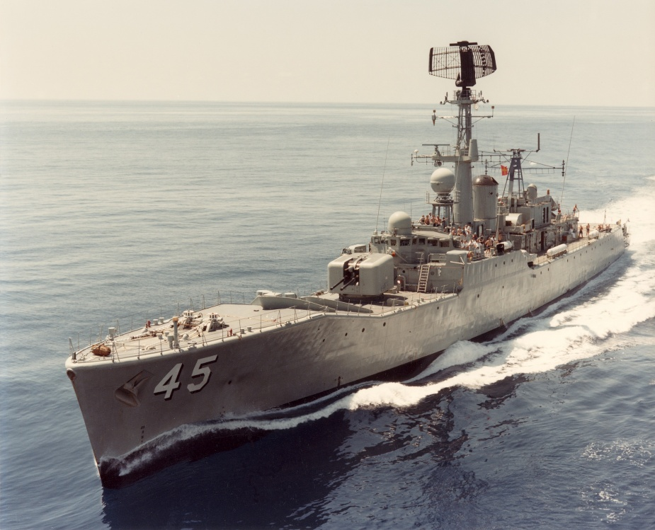 Yarra preparing to conduct a replenishment at sea. This is indicated by flying flag romeo close up.