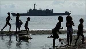 HMAS Manoora dubbed 'Bikfala Sip' by the Islanders.
