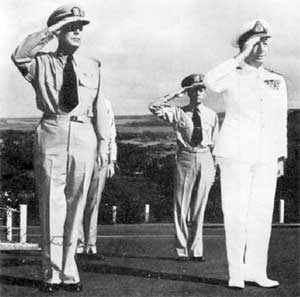 Rear Admiral John Collins with Admiral Arthur Radford at CINPACFLT Headquarters, Pearl Harbor, 1951. (RAN)