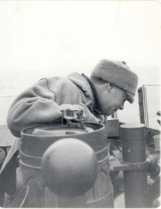 Commander Spurgeon on the bridge of HMS Echo