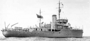 The lead ship, HMAS Bathurst, on trials, but already fitted for minesweeping.