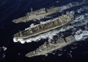HMAS Westralia replenishing HMA Ships Manoora and Anzac.