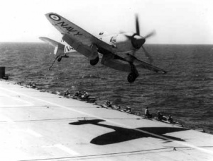 A Sea Fury misses a landing on the deck of HMAS Sydney.