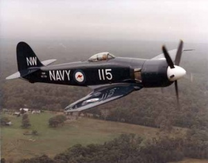 A restored Sea Fury in flight.