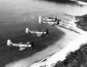 A formation of Sea Furies from HMAS Sydney.