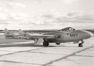 A Sea Vampire on the tarmac at HMAS Albatross.