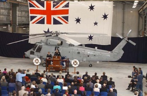 Chief of Navy, Vice Admiral Chris Ritchie, speaks at the RAN Seasprite acceptance ceremony at HMAS Albatross on 18 October 2003.