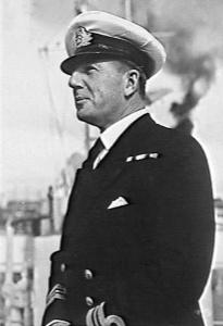HMAS Queenborough's first Australian Commanding Officer Commander AH Green, DSC*, RAN.