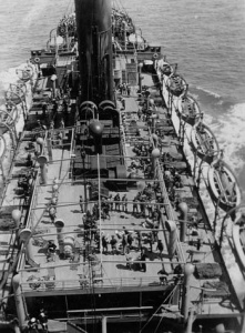 View from the mainmast of SS Euripides with a variety of lectures and drills underway on the upper decks