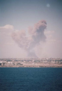 Explosions ashore in Mogadishu were common place throughout HMAS Tobruk's deployment.
