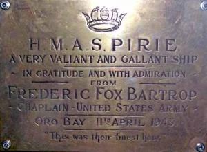 HMAS Pirie memorial plaque