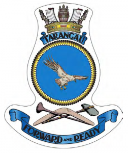 Tarangau's official badge whose motto aptly reflected the role of the establishment during the era of forward defence.