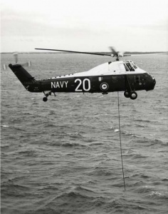 A Westland Wessex 31A with its dipping sonar deployed during an anti-submarine exercise.