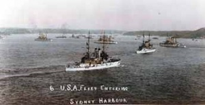 The Great White Fleet arrives at Sydney 20 August 1908. (US Naval Historical Center)