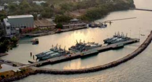Armidale class patrol boats at HMAS Coonawarra (Darwin) ready for the next surge of patrol activity in Australia's northern waters (RAN).