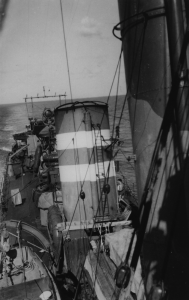 HMAS Vendetta wearing the funnel markings of the 7th Destroyer Flotilla.