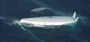The upturned hull of Exide Challenger. (Defence)