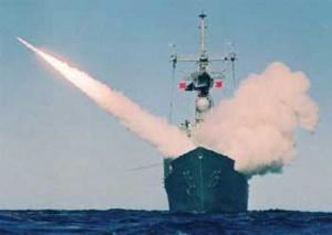 HMAS Melbourne firing a Standard Missile (Defence)