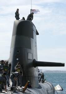 The crew of HMAS Waller prepare to come alongside Fleet Base West, on their arrival home from a five month deployment.