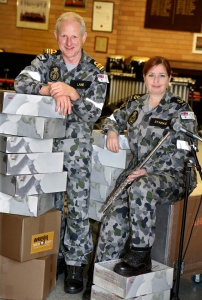 West Australian Reservists, Lieutenant Commander Brett Lane and Leading Seaman Musician Nadene Starkie.