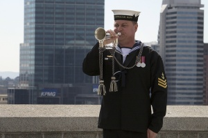 Leading Seaman Nigel Barrett sounds the Last Post.