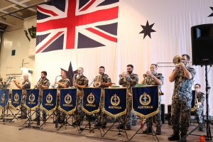 RAN Band performing aboard HMAS Adelaide during Indo-Pacific Endeavour 2018.
