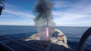 An Evolved Sea Sparrow Missile is fired from HMAS Hobart during test firings off the US West coast, December 2018. Screenshot from video file.