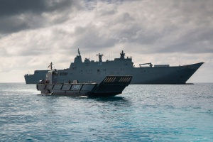 A Light Landing Craft from HMAS Adelaide departs the ship for Cowley Beach in Queensland during Exercise SEA WADER 2020. Photographer: ABIS Sittichai Sakonpoonpol.
