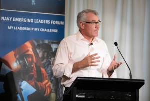 Deputy Chief of Navy, Rear Admiral Chris Smith, CSM talks about the challenges of leadership during the Navy Emerging Leaders Forum held in Canberra. Photographer: POIS Bradley Darvill