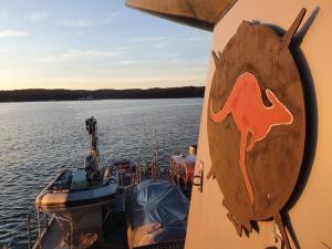 Royal Australian Navy Minehunter HMAS Gascoyne completes a route survey of Eden Harbour in NSW.
