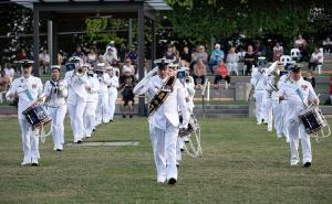 RAN Band Queensland plays during the Navy Indigenous Development Program graduation in Cairns, Queensland, 2021.